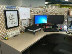 decorate office cubicle. would need more color for me but like the desk arrangement decorate office cubicle