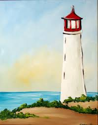 would like to paint on you own at home but don t know where to start why not try lighthouse with these step by step instructions