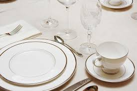 elegant table settings. A Simple But Elegant Table Setting In White With Silver-rimmed Dishes. Each Wine Settings