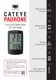 Cateye Padrone Computer User Manual Manualzz Com
