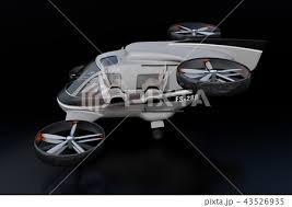 自動運転ドローンの機体にインテリアを合成したイメージ空飛ぶ車