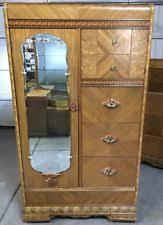 Vntg 1950u0027s Waterfall Bedroom Furniture: Wardrobe, Bureau, Nightstand U0026  Vanity