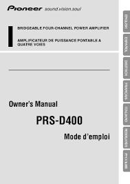 series each additional s pioneer prs d400 user manual allemand anglais espagnol franç