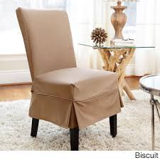 twill mid pleat relaxed fit dining chair slipcover with ons biscuit brown