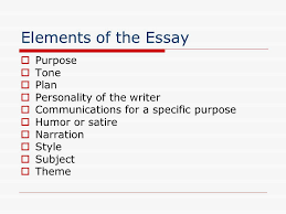 essay writing elements of the essay ppt  elements of the essay purpose tone plan personality of the writer