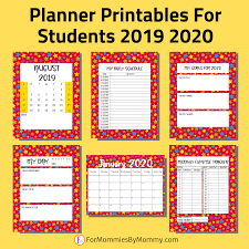 Planner Printables For Students Rainbow Stars Planner Printables For Students 2019 2020