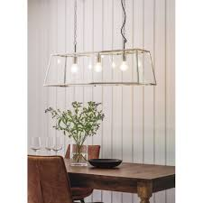 Hurst Tree Lighting Endon Collection 76227 Hurst 3 Light Ceiling Pendant In Bright Nickel Finish With Clear Glass Panels