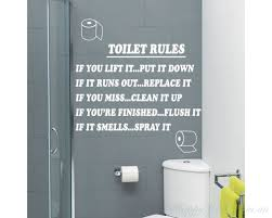 on toilet wall art quotes with toilet rules bathroom art wall quote stickers