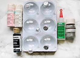 how to make glitter painted glass ornaments supplies needed step by step instructions