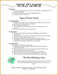 Types Of Resumes Resume Format New Average Three Basic 3
