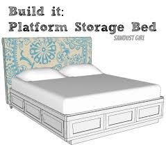 king storage bed plans. I Want One! Have Wanted One For YEARS!!! Cal King Platform Storage Bed Plans From Sawdust Girl. M