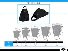 Arena Swim Size Chart Tech Pro Fin Accessories Arena
