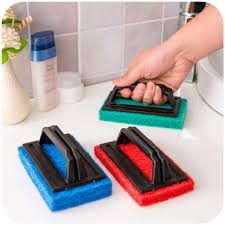 sponge cleaning brushes table ceramic tile floor wall glass dishes kitchen and bathroom cleaning tools with