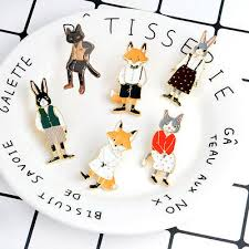 Cartoon <b>Animal</b> Fox <b>Enamel Pin</b> Rabbit <b>Cat</b> Envelop Metal <b>Brooch</b> ...