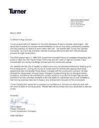 Letter Of Recommendation For A Company Turner Construction Letter Of Recommendation