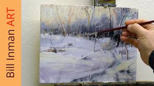 how to paint winter snow art class oil painting demo by bill inman you