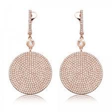 large icon diamond drop earrings rose gold