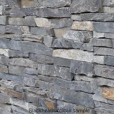 deco block grey quartzite wall
