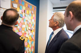 u s department of defense photo essay defense secretary chuck hagel center reads messages on the hope board