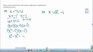 form a polynomial whose real zeros and degree are given writing polynomial equations given the zeros of the functions youtube