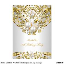 Royal Gold On White Pearl Elegant Birthday Party Invitation