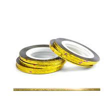 Laser Samolepící Zdobící Páska Na Nehty Zlatá Glitter 1ks