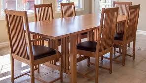 7 pieces cherry mission style dining room set with long dining table