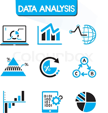 Data Analysis And Data Graph Icons In Stock Vector