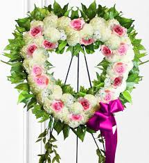 pink white sympathy heart wreath