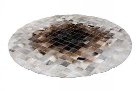 round gray and brown grant patchwork cowhide rug