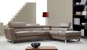 Light Brown Leather Sectional Sofa with Adjustable backrests