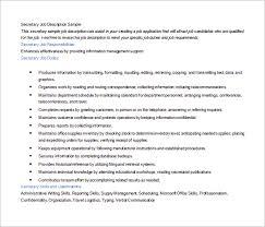 Duties Of A Secretary For A Resume. Secretary Resume Sample ...