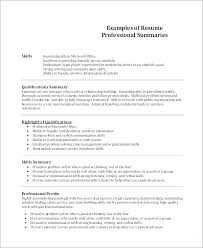 Example Skills For Resume Extraordinary Resume Qualification Summary Summary On A Resume Examples Resume