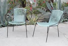 modern outdoor patio furniture. Mid Century Outdoor Furniture Modern Charlotte Patio Two Chairs Blue Yarn Color Nature Relaxing Simple