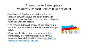Before an insolvent company or person gets involved in insolvency. Alternative To Bankruptcy