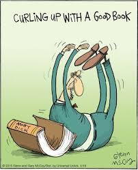 mystery fanfare cartoon of the day curling up with a good book