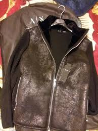 designer brand armani exchange mens black leather winter jacket