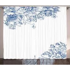 Vintage Blue Curtains 2 Panels Set, Vintage Style Floral Design with Peony Blossoms Buds and Roses, Window Drapes for Living Room Bedroom, 108W X 108L ...