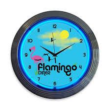 Retro Kitchen Wall Clocks Flamingo Diner Neon Kitchen Clock Restaurant Wall Clocks