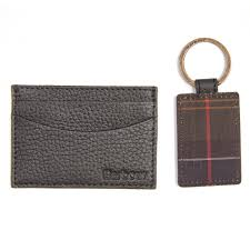 barbour barbour mens grain leather card holder key fob gift set