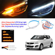 Swift Car Led Lights Semaphore 12v Car Led Strip Light Daytime Running Indicator Turn Signal Sequential Flow Yellow Flowing Turn Signal Light Lamp Drl Front Left Right