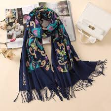 Designer Shawls And Wraps Us 14 4 40 Off 2019 Designer Quality Embroidery Cashmere Scarves Vintage Winter Women Scarf Long Size Shawls And Wraps Lady Soft Warmer Foulard In