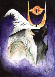 Lord Of The Rings Gandalf And The Eye Of Mordor Painting by Wesley Hicks