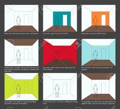 Home decoration, interior design basics. Color scheme and space Perception  Stock Vector - 9881448
