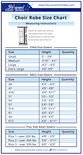 Choir Robe Size Chart Size Chart