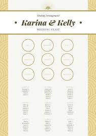 Gold White Brown Wedding Seating Chart Templates By Canva
