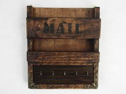 rustic wooden wall hanging mail holder and key by regalosrusticos 30 00