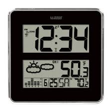 la crosse technology digital atomic clock with weather forecast 3in time display