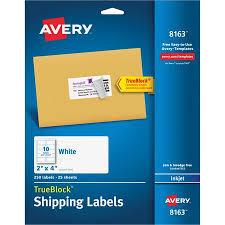 Package Label Template Simple AveryR Shipping Labels With TrueBlockR Technology For Inkjet