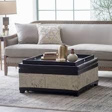 Belham Living Dalton Coffee Table Storage Ottoman with Tray & Shelf |  Hayneedle